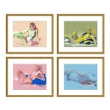 Image of Figure Horitzontal, Set of 4 by David Orrin Smith in Gold Frame, Small Art Print For Sale