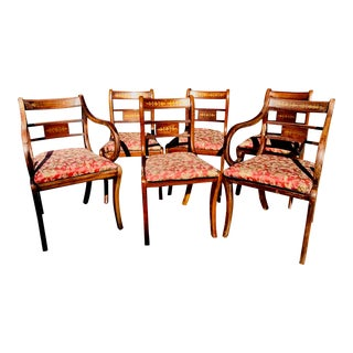 English Traditional Brass Inlaid Regency Style Dining Chairs - Set of 6 For Sale