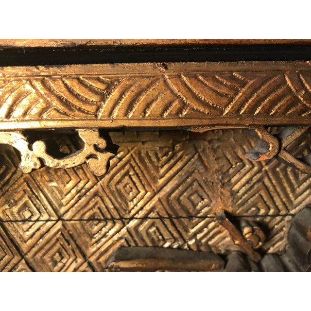 18th Century Antique Qing Chinese Carved Monumental Giltwood Temple Wall Panel Cassette For Sale In New York - Image 6 of 12