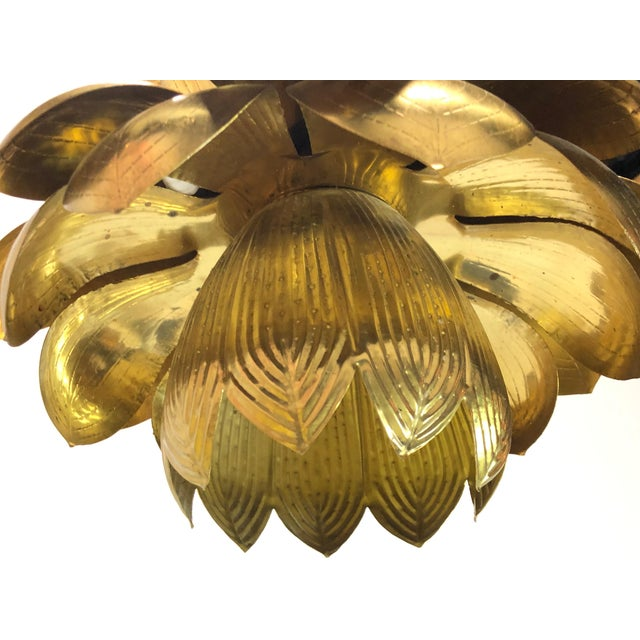 Pair of Brass Lotus Pendants For Sale In Dallas - Image 6 of 12