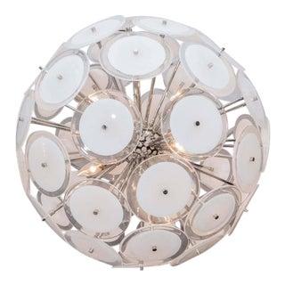 Custom White Murano Disc Sputnik Chandelier For Sale