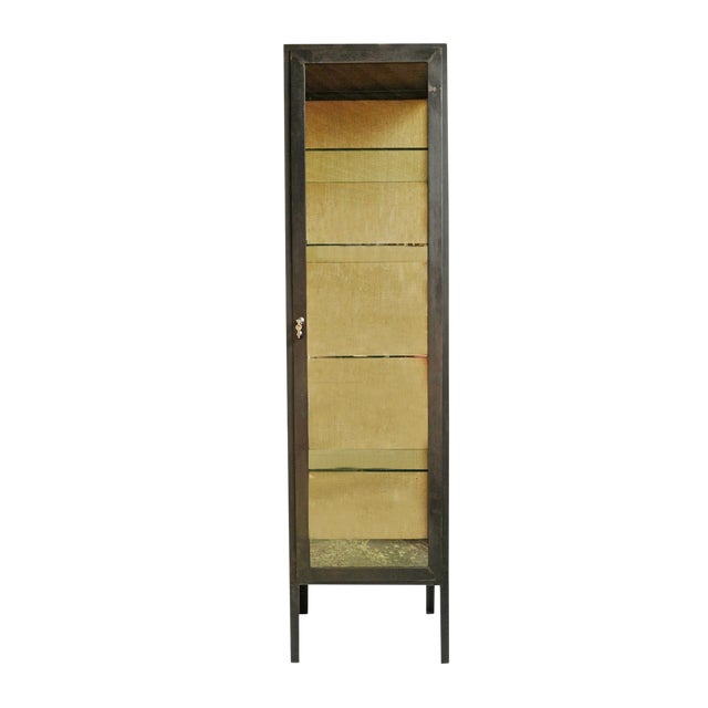 Iron & Glass Tall Display Cabinet For Sale
