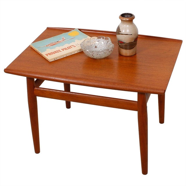 Grete Jalk Teak End Table with Raised Lip Edge For Sale - Image 9 of 9