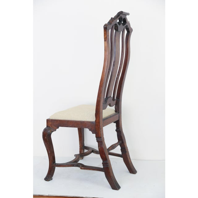 Cotton Anglo Dutch Walnut Chairs - A Pair For Sale - Image 7 of 9