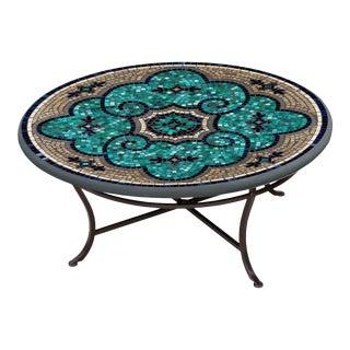"Sardinia 36"" Coffee Table with Black Iron Base For Sale"