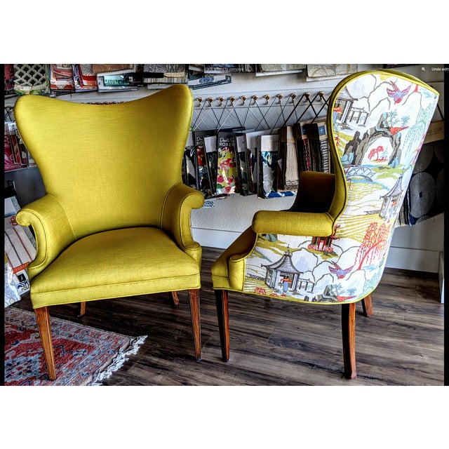 Stunning set of Wingback Chairs. These accent chairs have been professionally reupholstered from the frame up. The fronts...