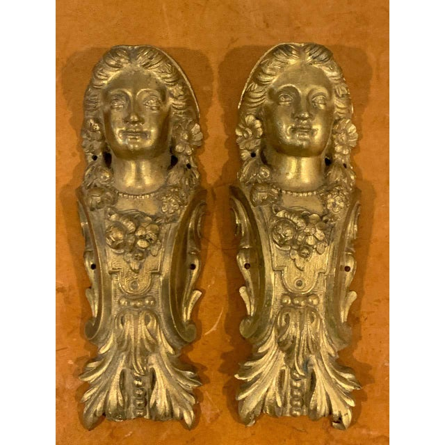 French Napoleon III Gilt Bronze Female Medallion Furniture Mounts - a Pair For Sale - Image 3 of 10