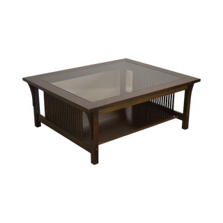 Stickley Mission Collection Oak Glass Top Cocktail Coffee Table For Sale