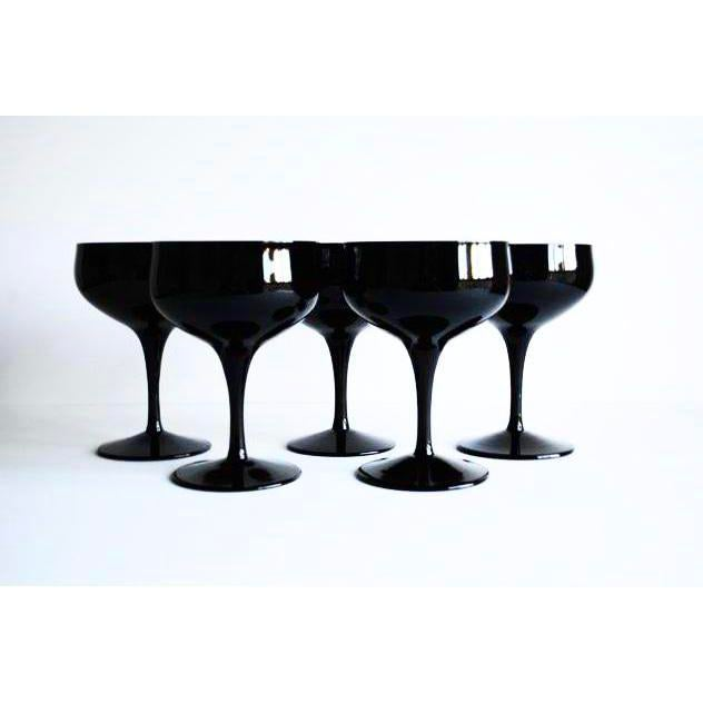 Set of 5 mid-century black cocktail coupes. Beautiful addition to your bar, table and party!