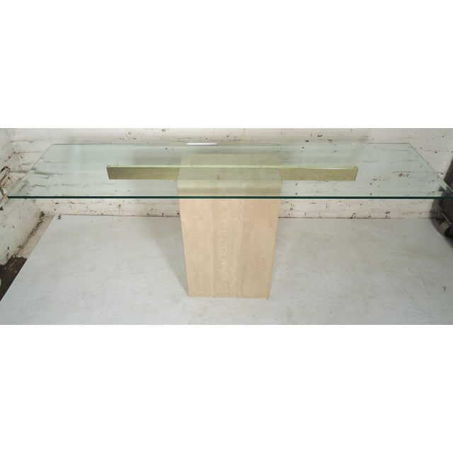 Elegant Travertine Console Table by Artedi For Sale - Image 9 of 9