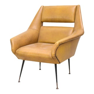 Italian Modern Brass, Enamel and Leather Armchair, Style of Gio Ponti For Sale