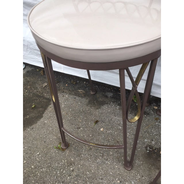Gold Arthur Umanoff Style Metal Bar Stools For Sale - Image 8 of 10