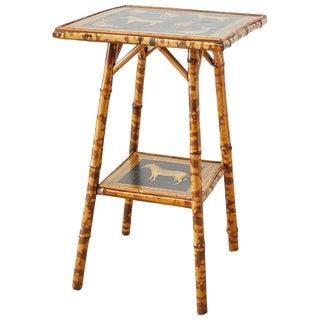 English Regency Style Tortoiseshell Bamboo Decoupage Zebra Table For Sale