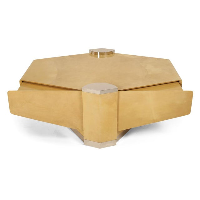 Lorin Marsh Custom Parchment 'Concorde' Cocktail Table by Lorin Marsh For Sale - Image 4 of 7