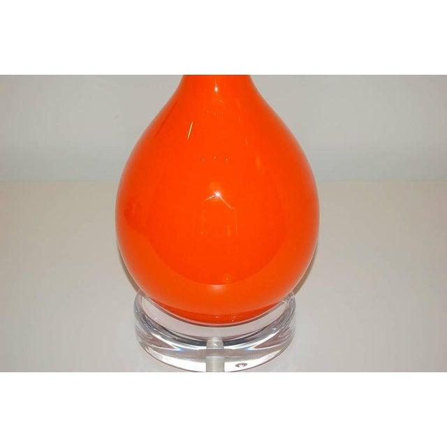 Hollywood Regency Vintage Murano Glass Long Neck Lamps Orange For Sale - Image 3 of 7