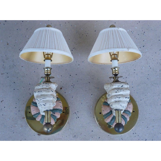 Wood 1970s Mid-Century Modern Carved Wood Sconces - a Pair For Sale - Image 7 of 7