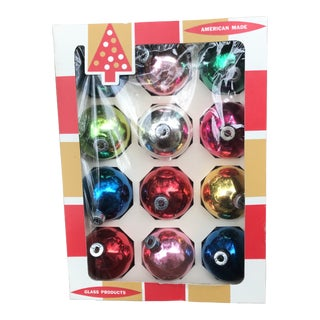 1960s Vintage Coby Assorted Glass Christmas Ornaments - Set of 12 For Sale