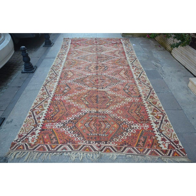 Turkish Vintage Handwoven Kilim Rug From Anatolian Wool On Wool good contion for use.