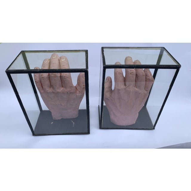 1950s Vintage Educational Model Hands in Glass Display Cabinets - a Pair For Sale In Seattle - Image 6 of 7