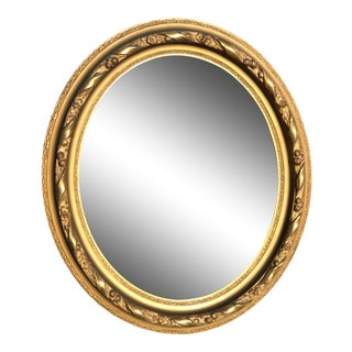 Antique Carved Gilt Framed Oval Wall Mirror For Sale