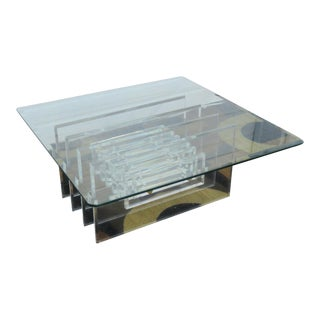 Hollywood Regency Stacked Lucite With Glass Top Coffee Table by Vjj For Sale