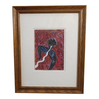 Original Vintage Gouache - Abstract Female Nude & Snake - Susan Nuxoll For Sale