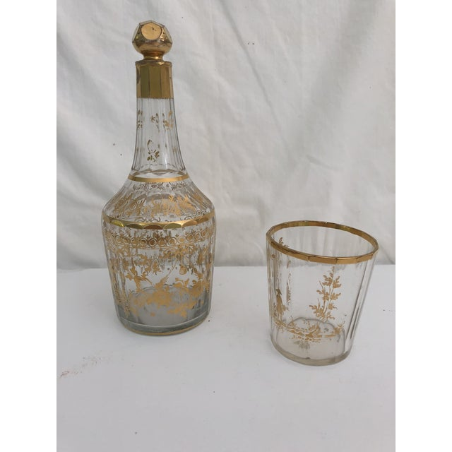 Glass 1910s Art Nouveau Gilt Decorated Small Carafe & Glass - 2 Pieces For Sale - Image 7 of 7
