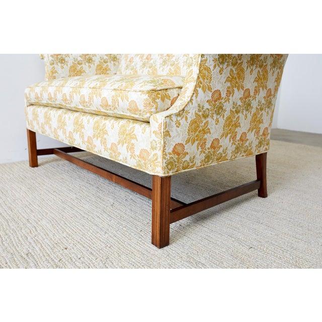 Wood English Georgian Style Mahogany Camelback Settee Loveseat For Sale - Image 7 of 13