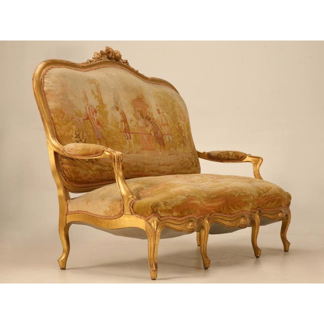 Antique French Gilded Louis XV Style Settee - Image 2 of 10