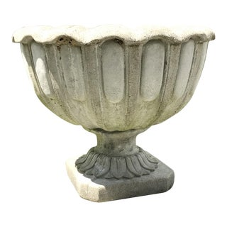 Early 20th Century Antique French Chambord Patinated Stone Lotus Garden Planter Jardiniere For Sale