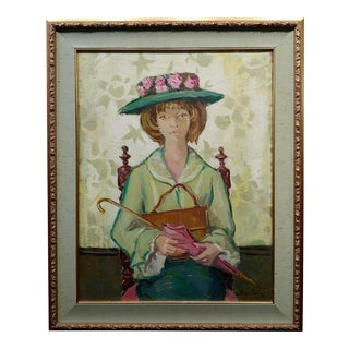 Andre Chochon -Portrait of a Big Green Eyes Girl in a Hat -Oil Painting For Sale