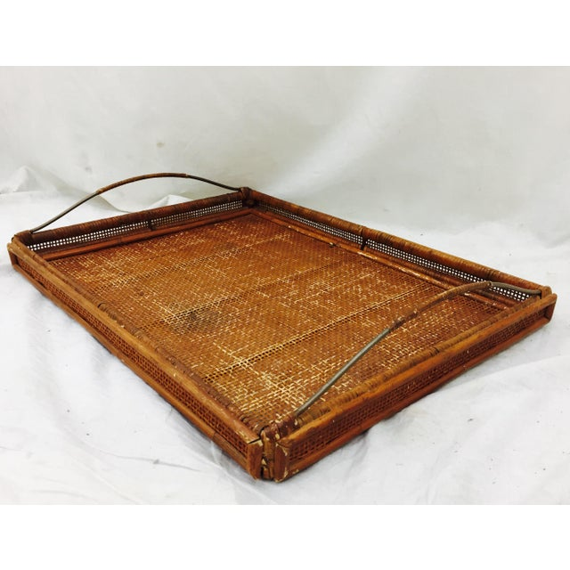 Vintage Woven Cane & Brass Serving Tray For Sale - Image 9 of 9
