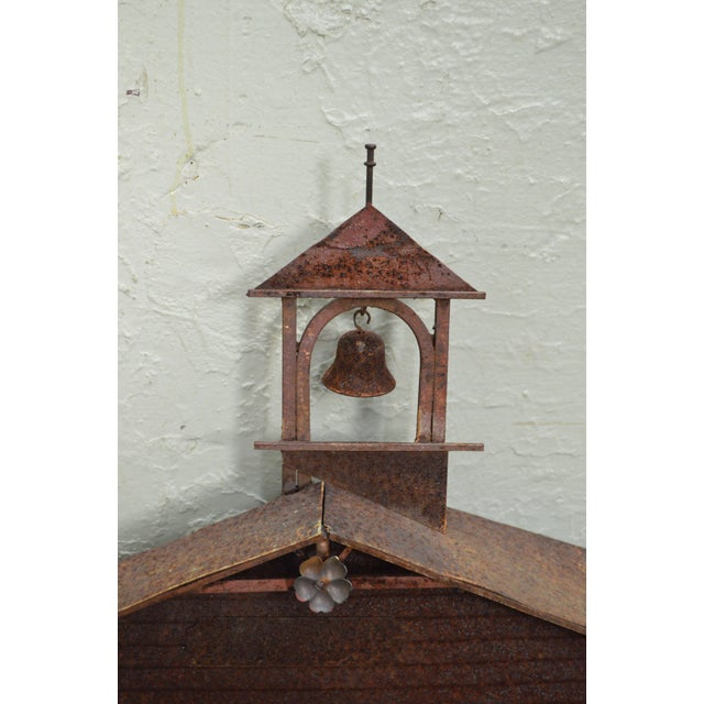 Rustic Curtis Jere Large Rusted Metal Wall Sculpture of Meeting House For Sale - Image 3 of 11