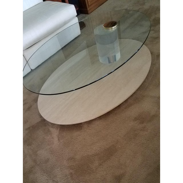 This Lion in Frost coffee table has been gently used and is in very good condition, minor marks. 54 in x 37 1/2 in and 16...