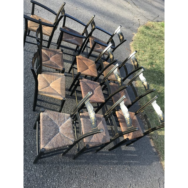 Vintage Black and Caned Hitchcock Chairs - Set of 12 For Sale - Image 10 of 11