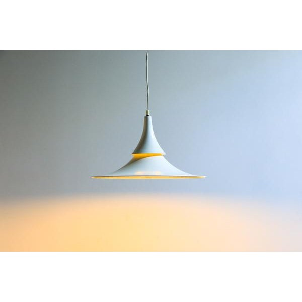 Hamalux Fluted White Hanging Lamp For Sale - Image 5 of 6