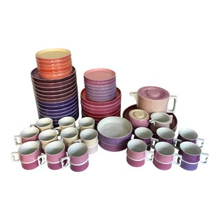 1970's Mid-Century Modern Arzberg Germany Chromatics Lavendelrot Plates, Mugs and Tea Set - 58 Pieces For Sale