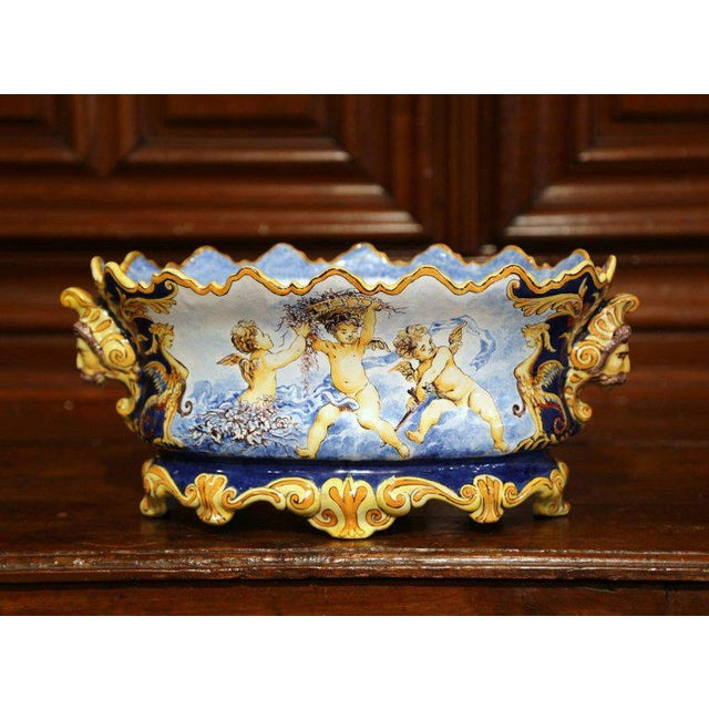 Mid-19th Century Italian Painted Ceramic Oval Planter With Crest and Cherubs For Sale - Image 4 of 12