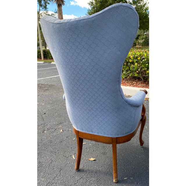 Vintage Butterfly Tufted Wing Back Bergere's For Sale - Image 4 of 8