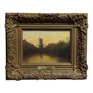 Mid 19th Century Vintage Windmill Landscape Dutch Oil Painting by Pieter Johannes Mak For Sale