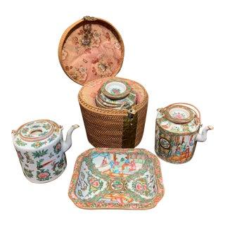 Late 19th Century Rose Medallion Tea Pots & Bowl Set- 4 Pieces For Sale