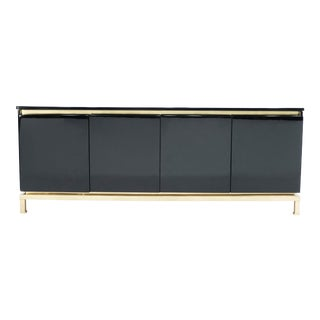 1970s Guy Lefevre for Maison Jansen French Brass Black Lacquered Sideboard For Sale