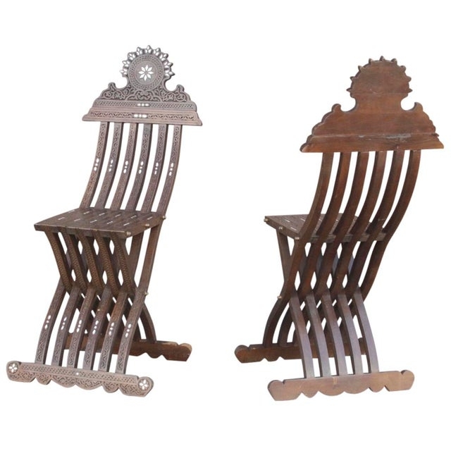 Vintage Mother Of Pearl Inlaid Chairs - Set of 2 For Sale - Image 5 of 7