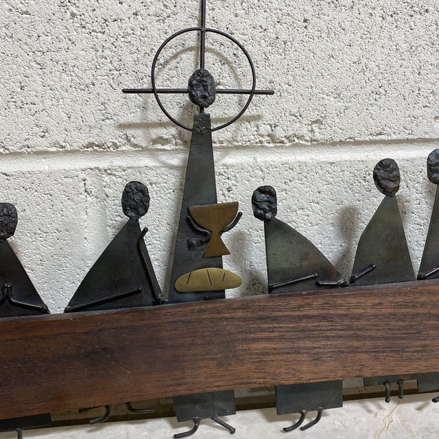 """Metal Mid Century Modern Emaus """"Last Supper"""" Sculpture For Sale - Image 7 of 12"""