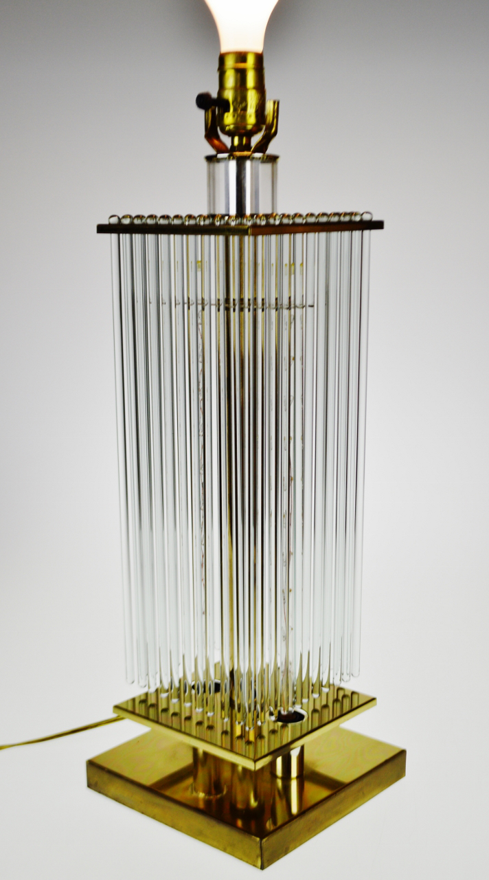 Brass Mid Century Gaetano Sciolari For Lightolier Brass And Glass Rods Table  Lamp For Sale