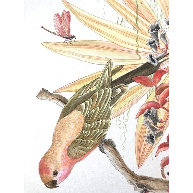 """""""Strictly for the Birds"""" Tropical Chinoiserie Painting by Allison Cosmos For Sale In Los Angeles - Image 6 of 6"""