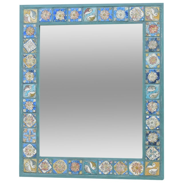 Hand Painted Persian Tile Mirror - Image 1 of 11