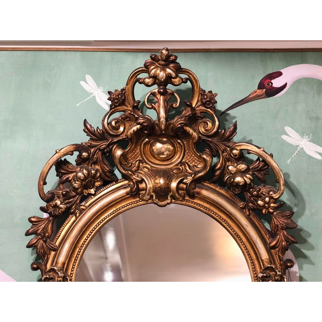 Wood Antique French Gilt Mirror For Sale - Image 7 of 10