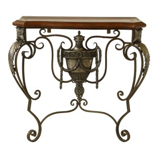 Maitland Smith Leather Top Iron Base Baroque Hall Table For Sale