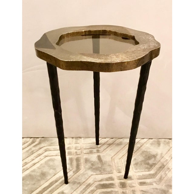 2010s Modern Barry Dixon for Arteriors Metal Foil and Smoked Glass Drinks Table For Sale - Image 5 of 5